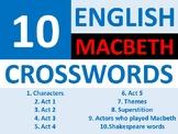 10 x Macbeth Crossword Puzzle English Literature Starter A