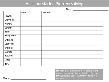 10 x Math Anagram Sheets Keyword Starters Settlers Homework Cover