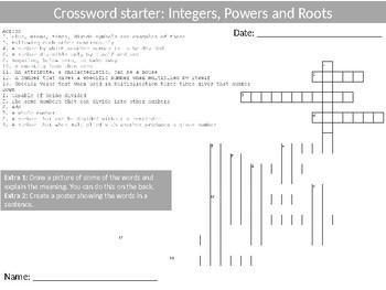 10 x Math Crosswords Keyword Starters Settlers Homework Cover