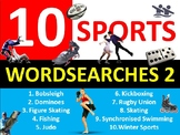 10 x Sports #2 Wordsearches PE Fitness Health Starter Settler Activity Homework
