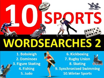 10 x Sports #2 Wordsearches PE Fitness Health Starter Settler Activity Homework