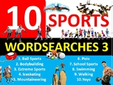10 x Sports #3 Wordsearches PE Fitness Health Starter Settler Activity Homework