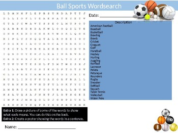 10 x Sports #3 Wordsearches PE Fitness Health Starter Settler Activity Homework