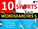 10 x Sports #5 Wordsearches PE Fitness Health Starter Settler Activity Homework