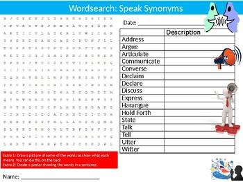 10 x  Synonyms #2 Wordsearch Puzzle Sheet Keywords Vocabulary English Language