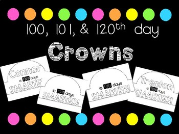 100, 101, 120th Day Crowns Editable