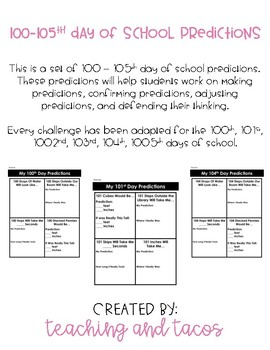 100-105th Day of School Predictions