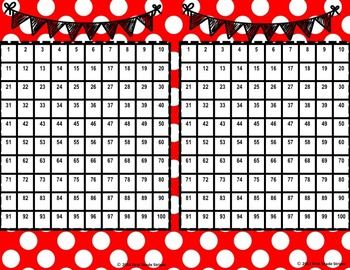 100 & 120 Hundreds Charts- Polka Dots- Red Theme