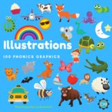 100 + A- Z Vocabulary Illustrations - Phonics 1 (AI Files)