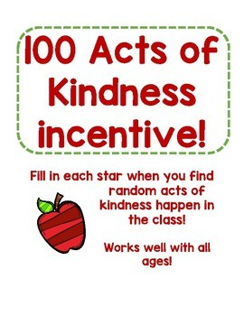 100 Acts of Kindness class goal