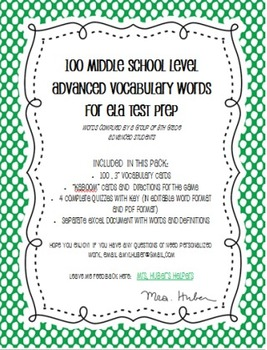 100 Advanced ELA Words (with word cards, game, and quizzes)