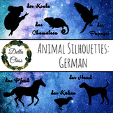 100 Animals in German - Night Sky Silhouette