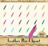 100 Antique Feather Pen Clip Arts Antique Retro European