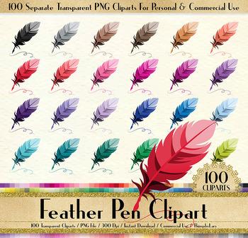 100 Antique Feather Pen Clip Arts Antique Retro European Parisian