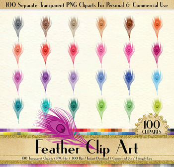 100 Antique Peacock Feather Clip Arts, Antique, Romantic