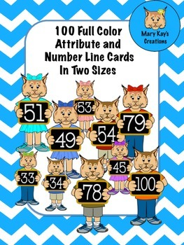 100 Attribute and Number Line Character Cards