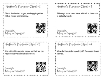 100 Author's Purpose QR Task Cards