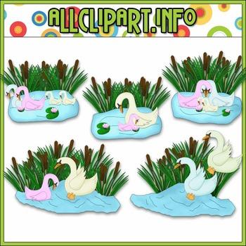$1.00 BARGAIN BIN - Colorful Swan Family Clip Art