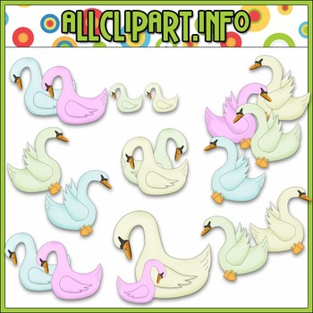 $1.00 BARGAIN BIN - Colorful Swans Clip Art