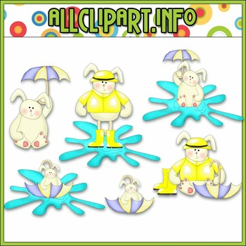 $1.00 BARGAIN BIN - Rainy Day Bunnies Clip Art