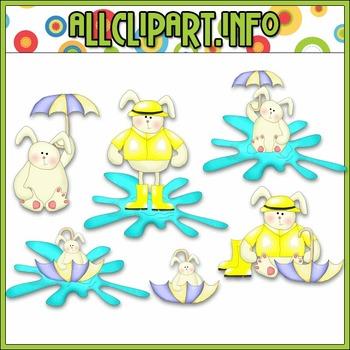 $1.00 BARGAIN BIN - Rainy Day Bunnies Clip Art