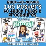 100 Back to School BITMOJI Rules and Procedures PowerPoint