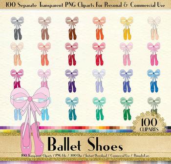 100 Ballet Shoes Clip Arts in 100 Different Colors