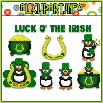 $1.00 BARGAIN BIN - St. Patty's Penguins Clip Art