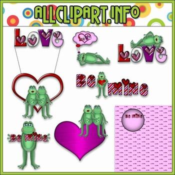 $1.00 BARGAIN BIN - Valentine Frogs Clip Art