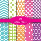 100 Basic Digital Papers Set, Background Papers and Frames