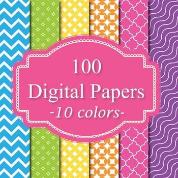 100 Basic Digital Papers Set 2