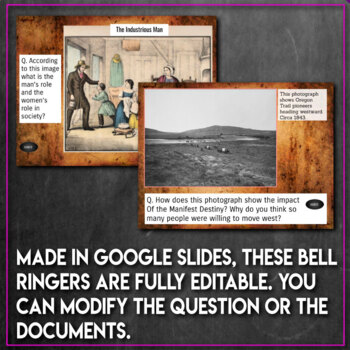 US History Bell Ringers 1st Half Primary Sources Document Based Questions