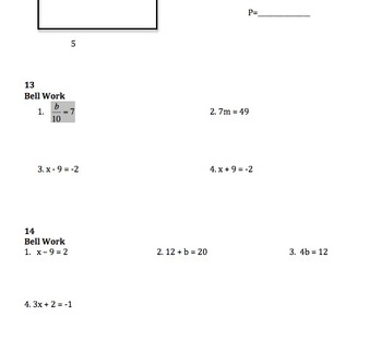 100 Bell Work Activities for Pre-Algebra or 1st Semester Algebra