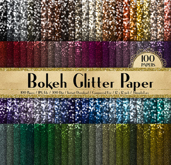 100 Bokeh Glitter Texture Digital Papers