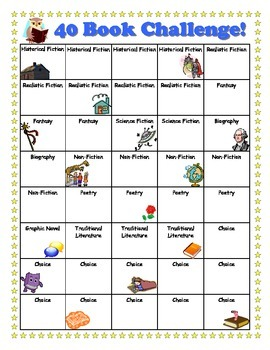 40 Book Challenge- Cute Chart With Pictures!