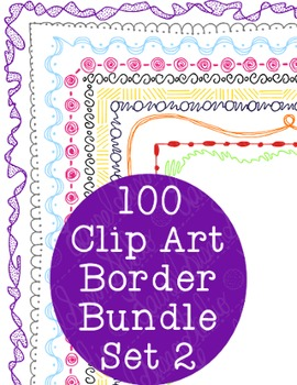 100 Borders Clip Art Bundle Set 2 PNG JPG Blackline Included Commercial Personal