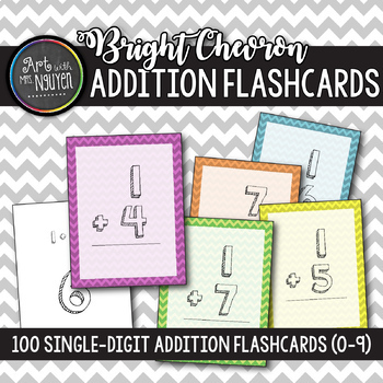 100 Bright Chevron Single-Digit Addition Flashcards (0-9)