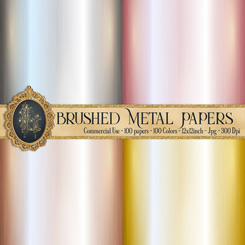 100 Brushed Metal Papers in 100 Different Colors