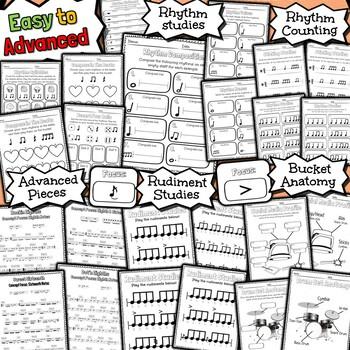 100 Bucket Drum Worksheets - Tests Quizzes Homework Reviews or Sub Work!