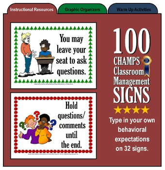 100 CHAMPs Classroom Management Signs
