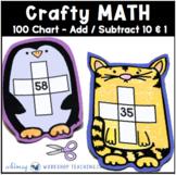 100 CHART ADD TEN Cute Animal Puppets Math Craft (From Crafty Math Bundle 2)