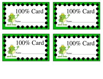 100% Card - Student Achievement Motivator