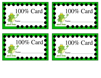 100% Card - Student Achievement Motivator