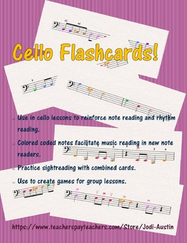 60 Cello Flashcards - FULL COLOR!!!