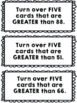 100 Chart Cards to practice Less Than and Greater Than