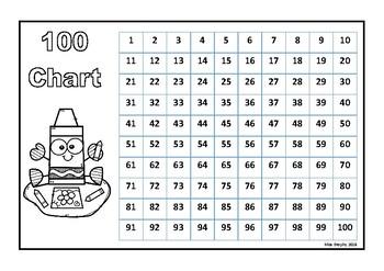 100 Chart Crayons B&W
