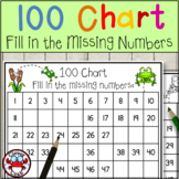 100 Chart Fill in the Missing Numbers Counting Resource Bugs Theme