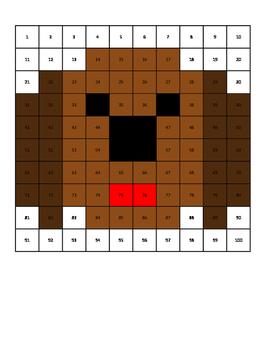 100 Chart Hidden Picture Dog Puppy summer math Practice