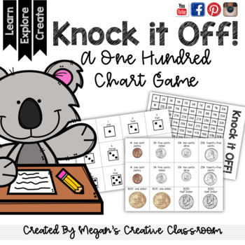 Math Game:100 Chart KNOCK IT OFF! Multiple Operations Diff