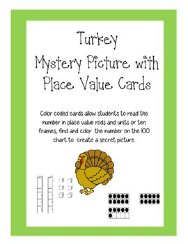 100 Chart Thanksgiving Turkey Mystery Picture w/ Place Value & Ten Frames Cards